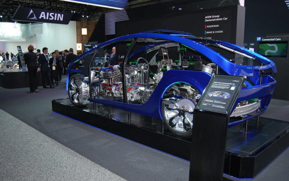 <p>The Aisin Ggroup is unveiling the newest version of its demonstration car and it's worth a closer look. It's a shell of a vehicle, showcasing the working/moving parts inside/undermost vehicles that you normally don't see. Thiscutaway includes systems to showcase Zero Emissions, Automated Driving and Connected Car technologies. You can also see how the Powertrain, Brake & Chassis, ICT & Electronics and Body systems work, all colour-coded for easy viewing. Weird & Wonderful!</p>