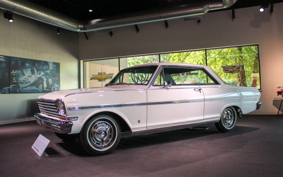 <p>This immaculate 1963 Chevy II Nova SS graces the outer lobby of the Heritage Center, which is as far as the general public can get. The Center does serve as a conferencing center, however, hosting meetings, conferences, special events, and group tours almost daily. It is also home to the GM Media Archive, which serves as a research resource, housing production records, technical service manuals, original press kits, sales literature, speeches, and patent information.</p>