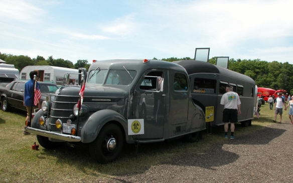 <p>In one one area of the estate, a group of classic GMC motorhomes lined up for attention, as did a collection of vintage travel trailers, complete with age-appropriate tow vehicles.</p>