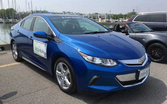 <p>The 2016 Chevy Volt, named the AJAC Canadian Green Car of the Year, is an electric mid-size family sedan with a gasoline-fuelled 1.5-litre range-extending engine. This all-new Volt, which listed at $40,545 as tested in EcoRun, features a new, second-generation Voltec extended range propulsion system that has increased the car's all-electric driving range to 85 kilometres, while delivering greater efficiency and stronger acceleration. NRCan rates the Volt's fuel efficiency at 5.6 L/100 km combined. Its Actual fuel consumption during EcoRun was unavailable.</p>