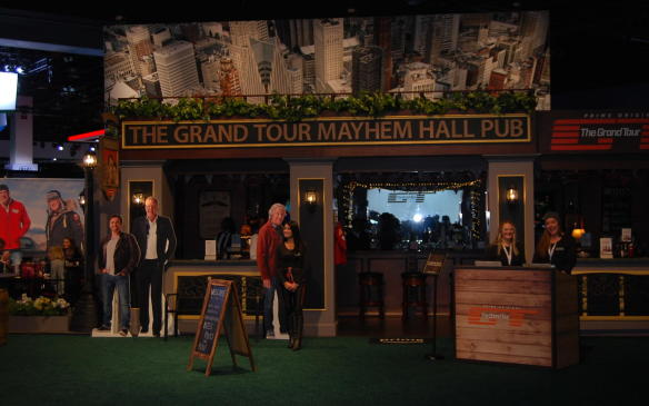<p>Ever wanted to share cheers with the former cast of Top Gear? Well, now you can. Sort of. This makeshift pub is offering pints, bites and fun - and cardboard cut-outs of the cast from their new Grand Tour show. Very weird!</p>
