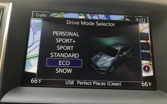 """<p>In Eco mode, the Q50 has a """"haptic"""" throttle pedal, which offers resistance against your foot before the pedal can be pushed down too far. It's teaching the driver to go lightly on the throttle, to save gas, but it can easily overridden.</p>"""