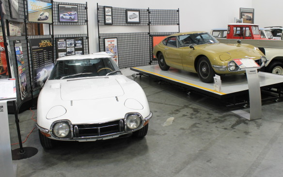 <p>These two examples from the 2000GT's first year complete the museum's collection of that exotic model. The gold car on the stand was the display car at the 1967 Tokyo Motor Show and was owned by British actress and model Twiggy. (Note that it's right-hand-drive, which is correct for both the Japanese and British markets.)</p>