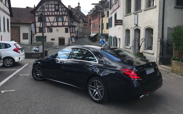 <p>The popular S560 is not much more expensive, once you're in the price range, starting at $115,200 for the short wheelbase, or $124,400 for the long-wheelbase model seen here, but its new 4.0L biturbo V-8 now makes 463 hp. It also has the 9-speed transmission.</p>