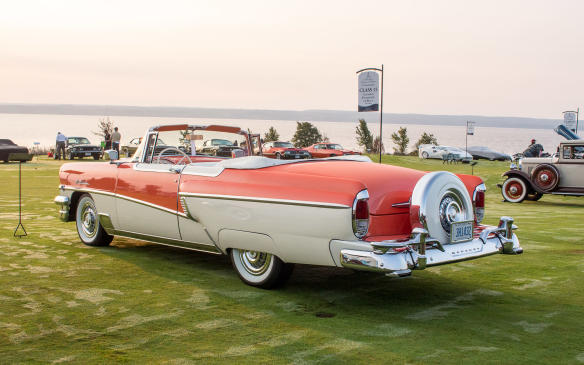 <p>One of the richest classes in the field was that for Post-War American cars, which included this colourful 1956 Mercury Montclair convertible.</p>