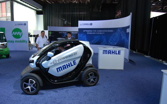 <p>In theMahle May Mobility booth, you can take a ride in the Renault Twitzy Plug-In Electric Vehicle powered by Mahle. No more sore feet at this Auto Show. Wonderful!</p>