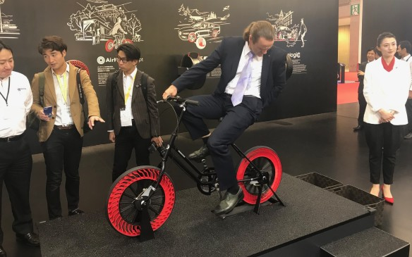 <p>It's not just about vehicles at the show, though. Tires are just as important and Bridgestone demonstrated its puncture-proof Air Free Concept tires. They use internal spokes for support and are made from recycled rubber and resin. These are intended for bicycles, but the company is working on car versions, too.</p>