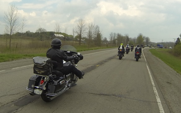 <p>We rode down from Hamilton – about an hour on a normal day. There were motorcycles everywhere on the roads.</p>