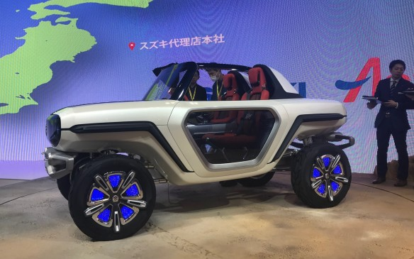 <p>Across the hall, Suzuki debuted its e-Survivor SUV concept, which is supposed to be what an SUV might look like in 100 years' time. There's no rain that far in the future, apparently, but it's encouraging to see the steering wheel survives.</p>