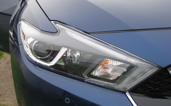 <p>Unique boomerang-shaped headlamps, accented by a strip of LED daytime driving lights, dominate the front corners of the Maxima. An automatic on/off feature with adjustable sensitivity is standard with the halogen headlights on the base SV and mid-range SL models; the sporty SR and premium Platinum trims have LED projector headlamps. Fog lights are standard on all four trim levels.</p>