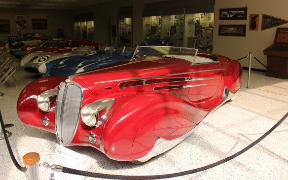 <p>Feature displays in the museum change often and it's not unusual for them to include cars on loan from other venues, such as this exotic 1938 Delahaye Type 165 Cabriolet with bodywork by Figoni et Falaschi, from the Petersen Museum in Los Angeles.</p>