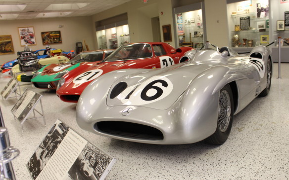 <p>A display of sports racing cars included this 1954 Mercedes-Benz W-196 which is one of the most famous racing cars of all time. Juan Manuel Fangio won back-to-back Grand Prix World Championships in 1954 and 1955 in the then-revolutionary W-196s. </p>