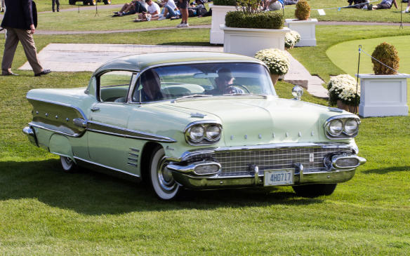 <p>While this may look like a 1958 Pontiac Bonneville, it's a Canadian Pontiac Parisenne Sport Coupe. Canadian-built Pontiacs were built on Chevrolet chassis and used Chevrolet engines.</p>