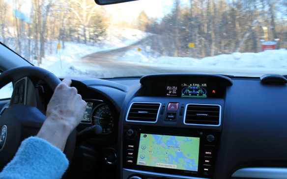 <p>All-wheel drive definitely helped around the icy corners, keeping the car pointed properly down the road under acceleration from the curves.</p>