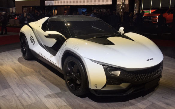 <p>India's Tata Corporation, parent company to JLR, revealed the Tamo Racemo, a sub-4-metre long, two-seater sports car powered by a 186-hp, mid-engined, 1.2-litre turbocharged Revotron aluminum engine with 6-speed AMT paddle shifters.</p>