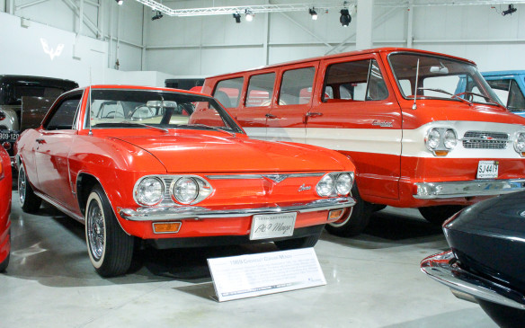<p>This second-generation Corvair Monza coupe – arguably one of the prettiest GM designs of the 1960s – was one of the last models built before Corvair production ceased in 1969. Beside it is a 1964 Corvair '95 Greenbrier van, produced from 1961 to 1964. There was also a pickup variant of the Greenbrier architecture called the Rampside.</p>
