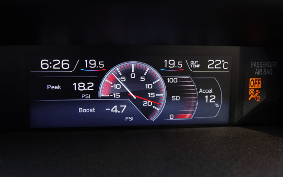 <p>The new multifunction display (MFD) screen offers three selectable information sets for fuel economy and drivetrain status in addition to this comprehensive turbo boost screen, topped by the time and current temperatures, inside and out.</p>