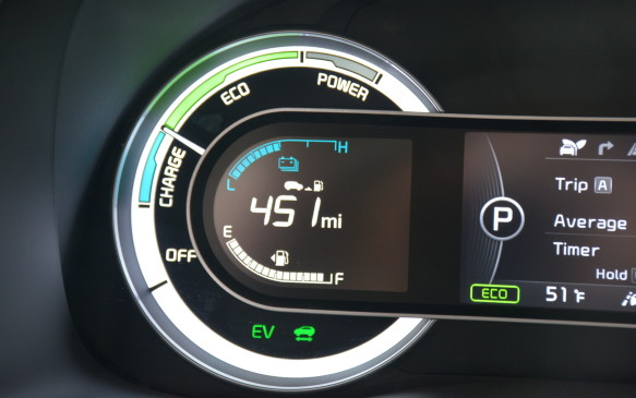 <p>The 4.3-inch digital display will help the driver be more fuel efficient by showing whether the car is currently charging, driving at an eco pace, or using power. Those statistics can also be found as percentages by toggling through the information screen. If you click the EV button on the infotainment screen, there are also fuel economy statistics and a tree that lights up, showing how you've been doing.</p>