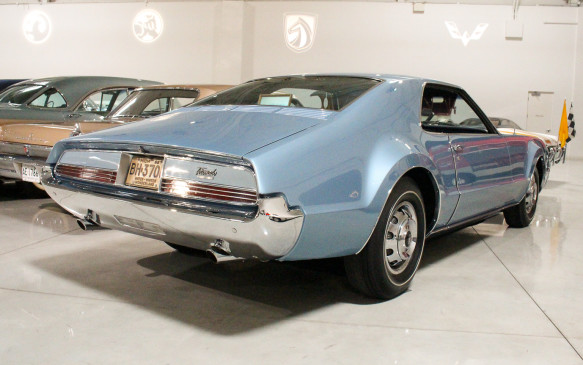 <p>The Heritage Center also features several key Oldsmobile models, another now-defunct brand (since 2004), which was the oldest in the GM portfolio. Among its most significant models was this distinctively designed 1966 Toronado, which was the first American front-wheel-drive production car since the demise of Cord in 1937.</p>