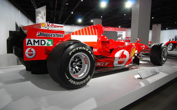 <p>Schumacher's last F1 ride, the Ferrari 248, reverted to a naming system similar to that used in the 1950s and '60s, referring to its 2.4-litre, eight-cylinder engine. It was among the most logo-laden – and thus least-attractive – Ferrari F1 cars ever, with the further addition of Marlboro branding in those countries where cigarette advertising was allowed.</p>