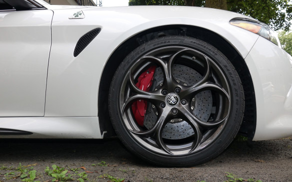 <p>The Quadrifoglio comes with Pirelli P Zero Corsa 'three-season' performance tires, which are among the very best you can get, in sizes 245/35ZR19 and 285/30ZR19 at the front and rear. They provide amazing grip, thanks to an exceptionally low treadwear rating of 60, which means they need to be replaced frequently. Our test car also had Brembo carbon-ceramic brakes with huge 390 mm rotors in front and 360 mm rotors at the rear, clamped by six- and four-piston calipers, respectively. Good for an excellent braking average of 34.3 metres from 100 km/h. The option costs $6,500, though.</p>