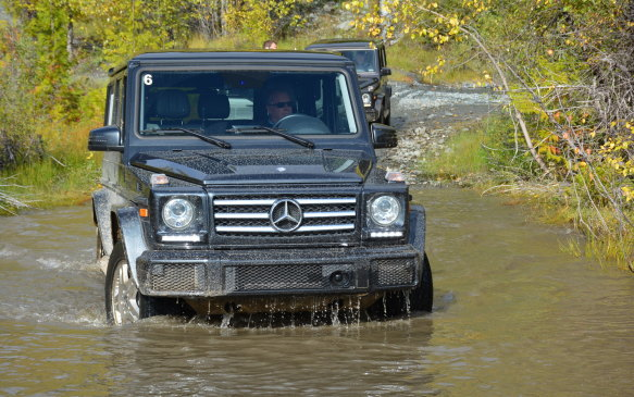 <p>One of the challenges was going through a pond that was littered with rocks. We took it slow and steady and once again the G-Class powered its way through without missing a beat and receiving a nice bath to clear a lot of the mud.</p>