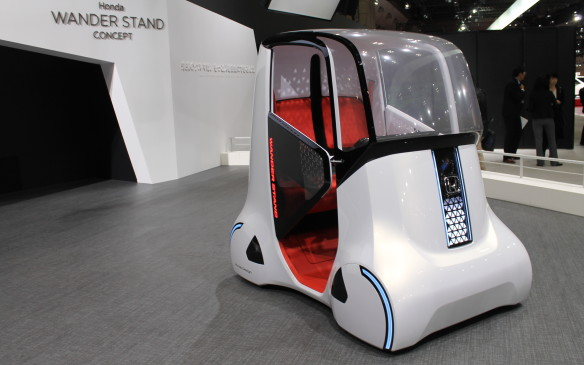 <p>Honda's Wander Stand concept is intended to carry two people who can either sit or stand, and it will drive in any direction, including diagonally.</p>