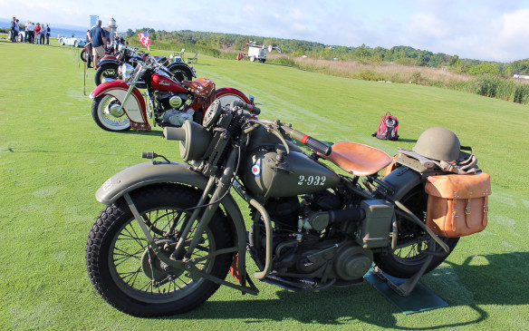 <p>For the second year there was also a motorcycle class, won by the WWII military 1943 Harley-Davidson WLC in the foreground.</p>