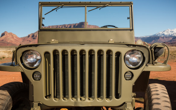 <p>Jeeps today have seven slots in their grilles but this wasn't always the case. This Willys MB has a nine-slot grille stamped from a single sheet of metal and produced under licence by Ford.</p>