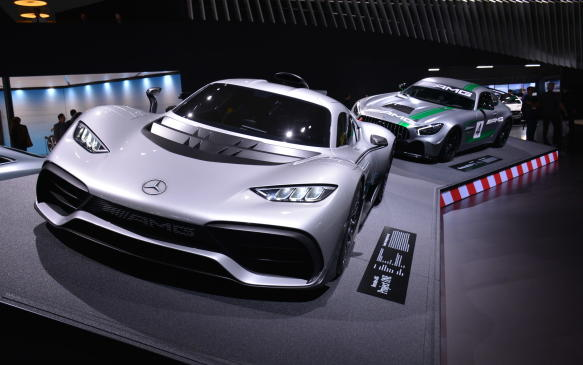 <p>In the contest for the best-looking vehicle at the show, the 2020 Mercedes-AMG Project One would have to be a major contender. The two-seat hypercar is, in effect, something close to street-legal Formula One car. It's a stunning beauty that's powered by a turbocharged, 1.6-litre V-6 engine and three electric motors for a total output of more than 1,000 hp. The same engine is found in the Mercedes team F1 car that can reach a top speed of 350 km/h with an 11,000 rpm redline.</p>