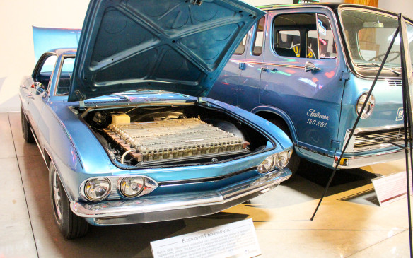 <p>Electric cars are much in the news today but they are nothing new for GM, which was experimenting with them at least as far back as the 1960s. The Corvair-based Electrovair II in the foreground featured a trunk full of silver-zinc batteries, while the Electrovan in the background is said to be the first experimental fuel-cell powered vehicle ever built.</p>
