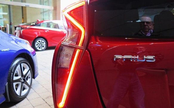 <p><strong></strong>They're not exactly a throwback to the '50s but the deep-formed rear quarters along with the shape of the tail-lights give the appearance of fins on the new Prius.</p>