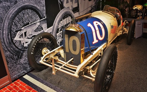 <p>This Duesenberg race car was one of two entered in the 1914 Indianapolis 500. One of Duesenberg's drivers was Eddie Rickenbacker, who finished 10th in the race but later became America's most famous WWI flying ace. Laer still, In 192, he bought the Indianapolis Motor Speedway, which he operated until it was closed for WWII.</p>