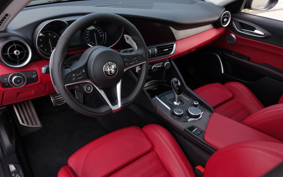 <p>The Giulia's instrument panel is superbly elegant, modern and uncluttered, with traditional gauges and proper analog buttons and knobs where they still do the best job – for the lights, climate control and driving mode selection, among other functions. The flat-bottom steering wheel looks great, has a nicely-shaped, leather-draped rim and good secondary controls. It even houses a big, start-stop button, left of center. Driving position is impeccable, including a flat and wide footrest, unrestricted in height, for once.</p>