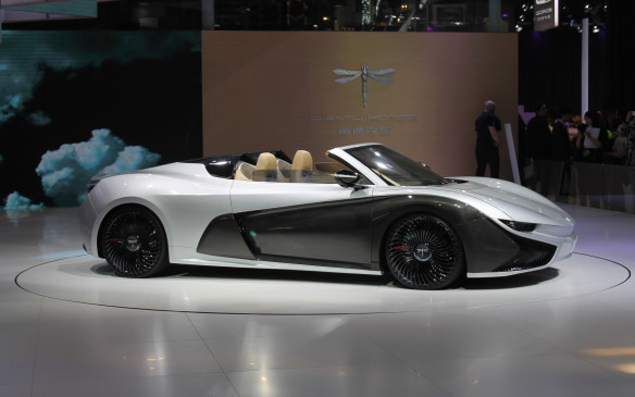 <p>Qiantu Motors' K50 all-electric roadster was also a big draw. It's not a concept – it's a production car that will cost a little over $100,000 when it comes on sale next year. It will have a top speed of 200 km/h, but a range of 300 km. It was kept far from the crowds on a giant stage.</p>