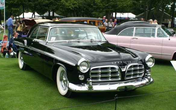 <p>In 1955, the first high-performance Chrysler production car was introduced – the Chrysler 300. The stylish two-door hardtop was powered by a 300-horsepower Hemi V-8 with solid valve lifters and dual four-barrel carburetors, making it the most powerful full-size car in the world. The Chrysler 300 would dominate NASCAR racing with the Kiekhaefer Mercury Outboard Racing team, headed by driver Tim Flock, which won 20 of its 40 NASCAR races.</p>