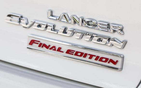 <p>2016 Mitsubishi Lancer Evolution Final Edition rear badge</p>