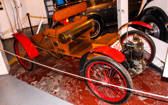 <p>The oldest car in the museum is this 1902 Orient Buckboard, built by the Waltham Manufacturing Company of Waltham, Masachuetts. Little more than a buggy with an engine, it was the simplest and lowest-priced automobile available at the time.</p>