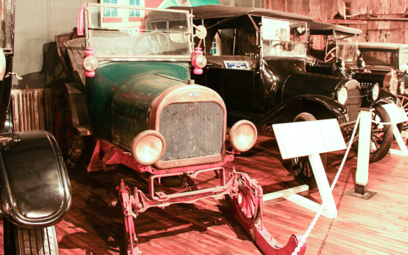 <p>Rare Canadian cars, like this modified 1918 Chevrolet with snowmobile conversion are the jewels of the museum's collection.</p>