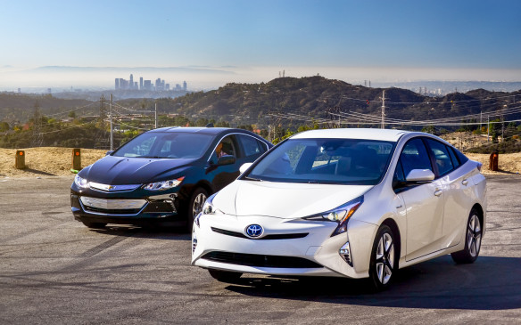<p>2016 Chevrolet Volt and Toyota Prius</p> <p>(Photo by Regine Trias Photography, courtesy World Car Awards)</p>