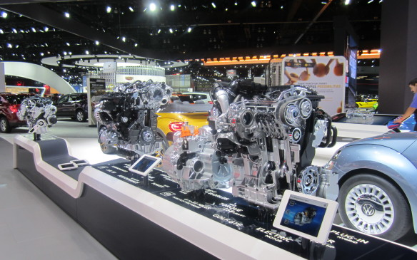 <p>Not surprisingly, given the recent brouhaha over cheating on emissions tests, diesels were conspicuously absent from the row of engines displayed on VW's stand in LA.</p>