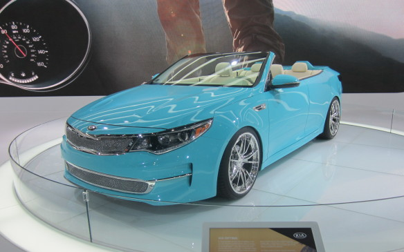 <p>While open-top four-door convertible touring cars were <em>de rigeur</em>  in the Classic era, the Kennedy era Continentals were the last of the type to be produced in the U.S. Kia revisited the idea with a concept version of its mid-size Optima sedan, which took to the form well but has no practical future. Like the Forte Koup Mud Bogger, it was shown first at SEMA.</p>