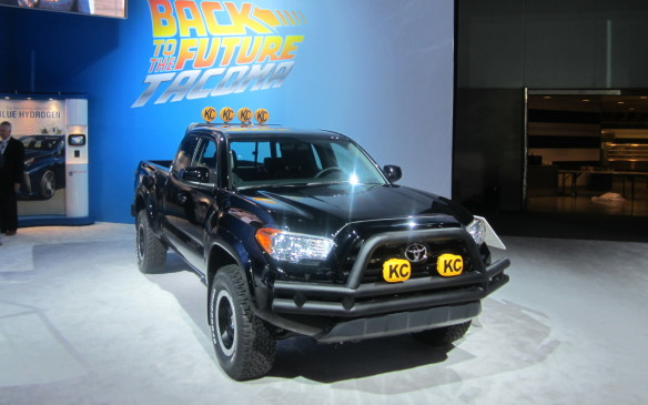 <p>Back to the movies,Toyota leveraged its connection with the <em>Back to the Future</em> franchise – Marty McFly drove a jacked up Toyota pickup at the end – by trimming out a 2016 Tacoma to look like a modern version of the original.</p>