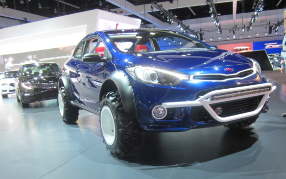 <p>It's not unusual to see a variety of sport utes modified for serious off-roading in southern California but a Kia Forte Koup? Whatever prompted Kia to turn one into this Mud Bogger is a mystery beyond our comprehension – apart from the fact it was created for the SEMA show in Las Vegas where the simply absurd is mundane.</p>