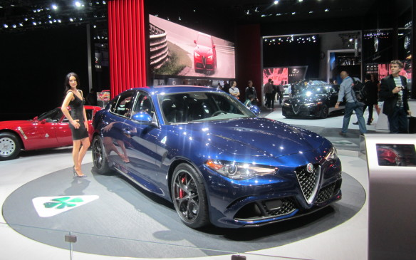 <p>Pretty models gracing the new car models were once the norm at auto shows but that practice has been largely abandoned, at least in North America. Not so in Europe and, true to its Italian roots, Alfa flouted PC convention to show off its new Giulia sedan.</p>