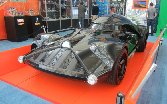 <p>Back to the bizarre, Hot Wheels imagined what Darth Vader's wheels would look like and built the car full-size. Repellent as it looks,one can only imaginehow appealing it will be to its target audience in miniature form.</p>