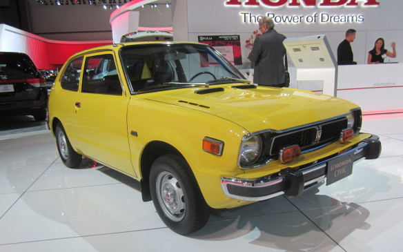 <p>Several automakers displayed historic models, like this original Honda Civic, alongside their latest fare, perhaps to demonstrate how far they've come or to remind us of how they established their reputation in the first place.</p>