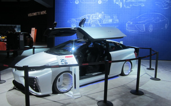 <p>Stretching that connection even further, a Toyota Mirai fuel cell car was reworked  with gull-wing doors to resemble Doc Brown's time-traveling DeLorean (or not!). As if the Mirai needed any help to look bizarre.</p>