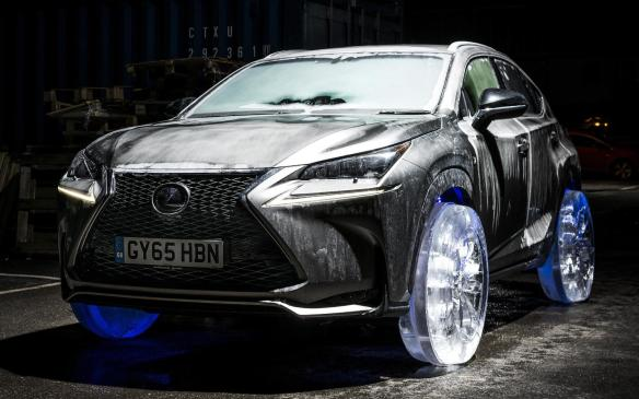 <p>Lexus NX riding on ice wheels</p>