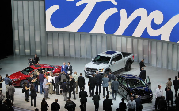 <p>Ford shot back by debuting a new Raptor version of its F-150, now with four full-size doors in a SuperCrew version. It also showed off a new sporty edition of its best-selling Fusion sedan, which will be refreshed this year.</p>